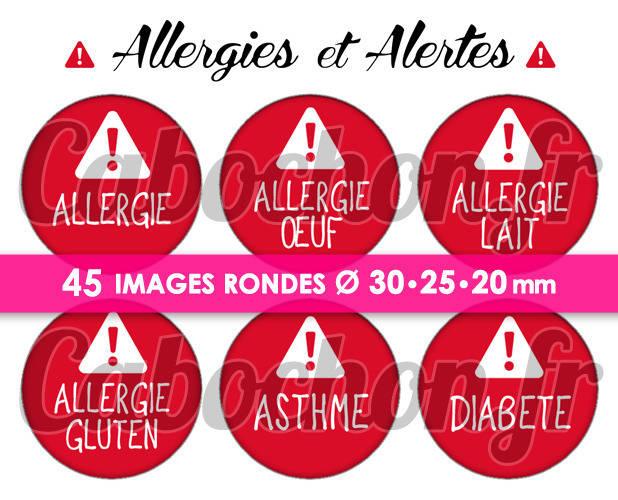 Allergies et Alertes  ☆ 45 Images Digitales Numériques RONDES 30 25 et 20 mm Page de collage digital pour cabochons