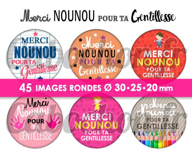 Merci Nounou pour ta Gentillesse ☆ 45 Images Digitales Numériques RONDES 30 25 et 20 mm Page de collage digital pour cabochons