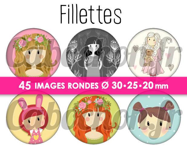 Fillettes ☆ 45 Images Digitales Numériques RONDES 30 25 et 20 mm Page de collage digital pour cabochons