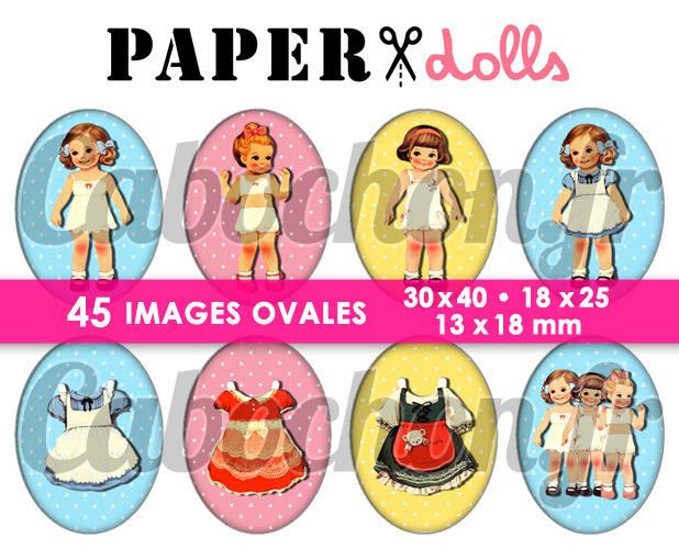 Paper Dolls  ☆ 45 Images Digitales Numériques OVALES 30x40 18x25 et 13x18 mm Page cabochons