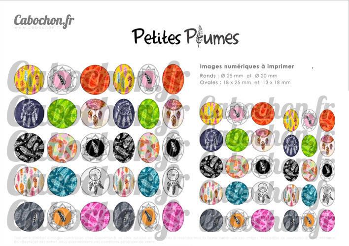 Petites Plumes ☆ 60 Images Digitales / Numériques RONDES 25 et 20 mm et OVALES 18x25 et 13x18 mm Page d'images pour cabochons à imprimer
