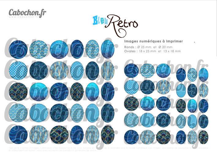 Bleu Retro ☆ 60 Images Digitales / Numériques RONDES 25 et 20 mm et OVALES 18x25 et 13x18 mm Page d'images pour cabochons à imprimer