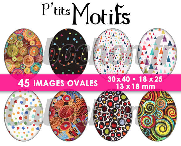 P'tits Motifs ll ☆ 45 Images Digitales Numériques OVALES 30x40 18x25 et 13x18 mm Page cabochons