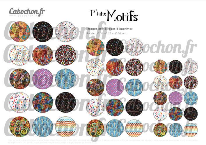 P'tits Motifs ll ☆ 45 Images Digitales Numériques RONDES 30 25 et 20 mm Page de collage digital pour cabochons badges miroirs bijoux