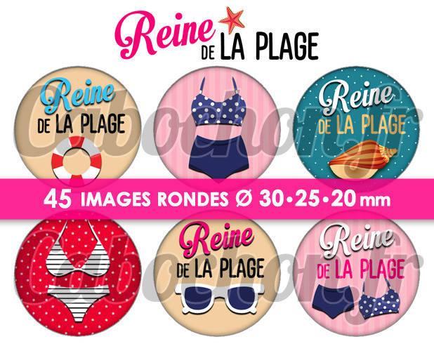Reine de la Plage ☆ 45 Images Digitales Numériques RONDES 30 25 et 20 mm Page de collage digital pour cabochons