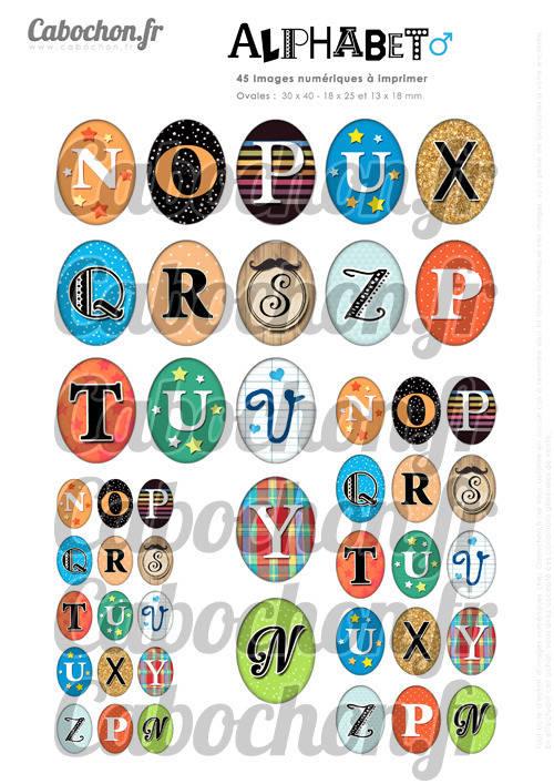 Alphabet lV ☆ 45 Images Digitales Numériques OVALES 30x40 18x25 et 13x18 mm Page digitale cabochons