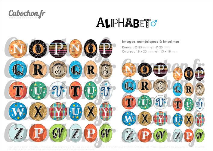 Alphabet lV ☆ 60 Images Digitales / Numériques RONDES 25 et 20 mm et OVALES 18x25 et 13x18 mm Page d'images pour cabochons à imprimer