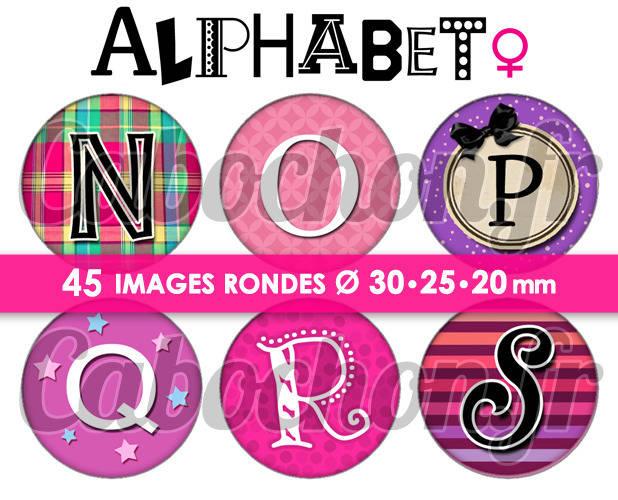 Alphabet lll ☆ 45 Images Digitales Numériques RONDES 30 25 et 20 mm Page de collage digital cabochons