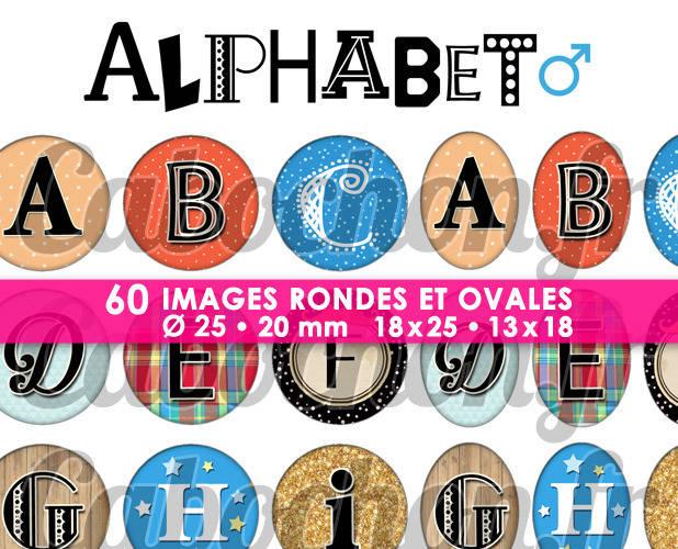 Alphabet ll ☆ 60 Images Digitales / Numériques RONDES 25 et 20 mm et OVALES 18x25 et 13x18 mm Page d'images pour cabochons à imprimer