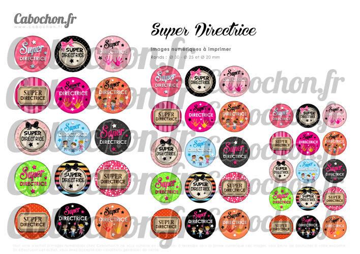 Super Directrice ☆ 45 Images Digitales Numériques RONDES 30 25 et 20 mm Page de collage digital pour cabochon
