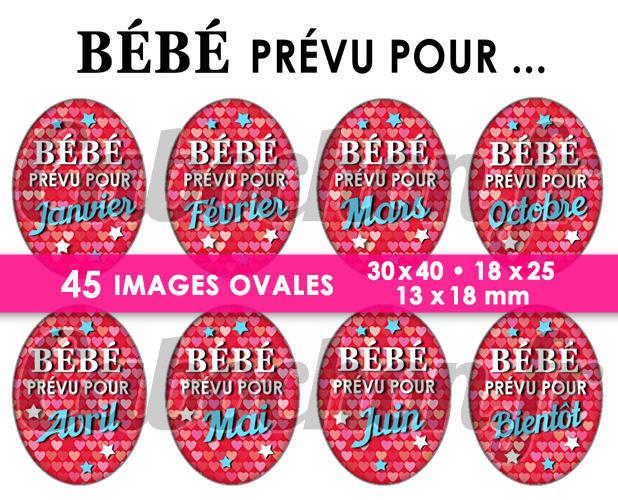 Bébé prévu pour lll ☆ 45 Images Digitales Numériques OVALES 30x40 18x25 et 13x18 mm Page digitale cabochons