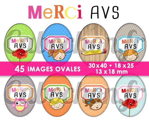 Merci AVS ! ll ☆ 45 Images Digitales Numériques OVALES 30x40 18x25 et 13x18 mm Page digitale pour cabochonsc