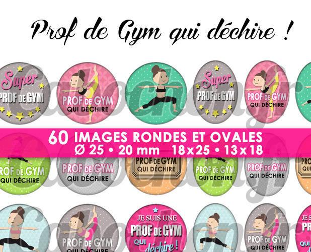 Prof de Gym qui déchire ! ☆ 60 Images Digitales / Numériques RONDES 25 et 20 mm et OVALES 18x25 et 13x18 mm Page d'images pour cabochons