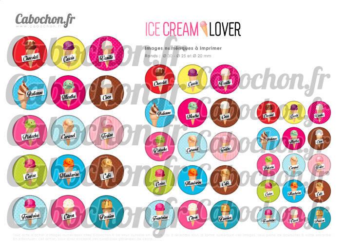 Ice Cream Lover - Glace ☆ 45 Images Digitales Numériques RONDES 30 25 et 20 mm Page de collage digital pour cabochon