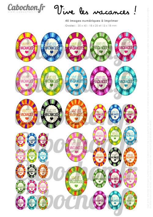Vive les Vacances ! lll ☆ 45 Images Digitales Numériques OVALES 30x40 18x25 et 13x18 mm Page digitale pour cabochons