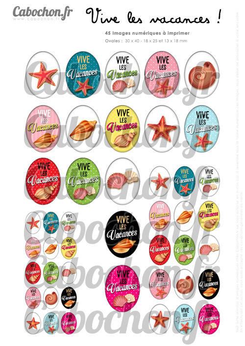 Vive les Vacances ! ll ☆ 45 Images Digitales Numériques OVALES 30x40 18x25 et 13x18 mm Page digitale pour cabochons