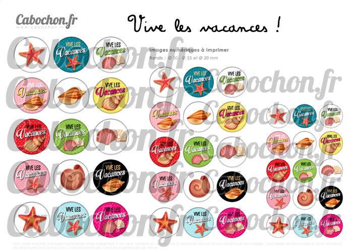 Vive les Vacances ! ll ☆ 45 Images Digitales Numériques RONDES 30 25 et 20 mm Page de collage digital pour cabochon