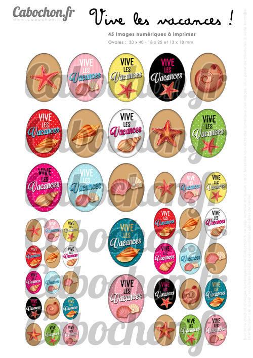 Vive les Vacances ! ☆ 45 Images Digitales Numériques OVALES 30x40 18x25 et 13x18 mm Page digitale pour cabochons
