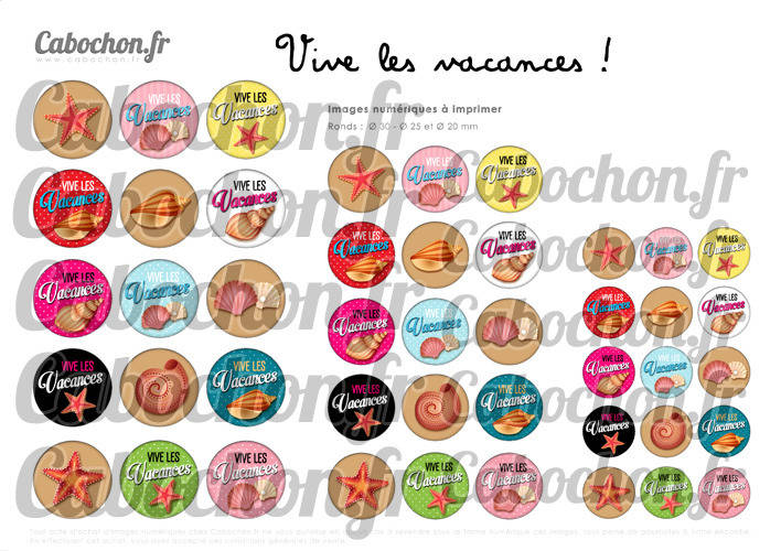 Vive les Vacances ! ☆ 45 Images Digitales Numériques RONDES 30 25 et 20 mm Page de collage digital pour cabochon