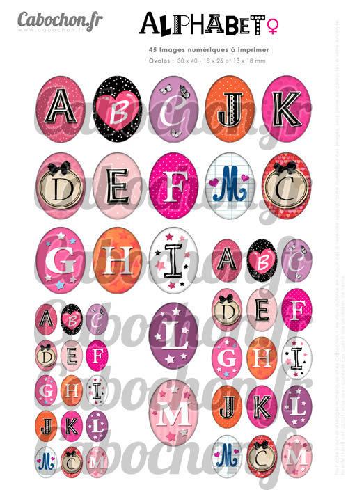 Alphabet l ☆ 45 Images Digitales Numériques OVALES 30x40 18x25 et 13x18 mm Page digitale pour cabochons