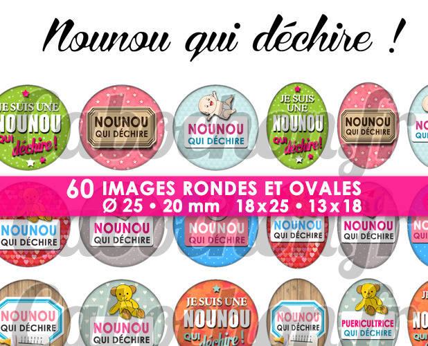 Nounou qui déchire ! ll ☆ 60 Images Digitales / Numériques RONDES 25 et 20 mm et OVALES 18x25 et 13x18 mm Page d'images pour cabochons à imprimer
