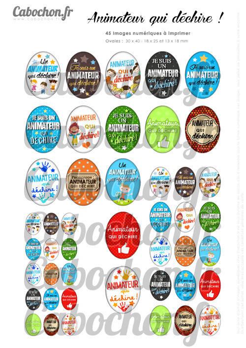 Animateur qui déchire ! ☆ 45 Images Digitales Numériques OVALES 30x40 18x25 et 13x18 mm Page digitale pour cabochons