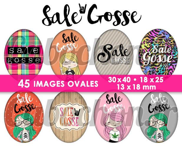 Sale Gosse ☆ 45 Images Digitales Numériques OVALES 30x40 18x25 et 13x18 mm Page digitale pour cabochons