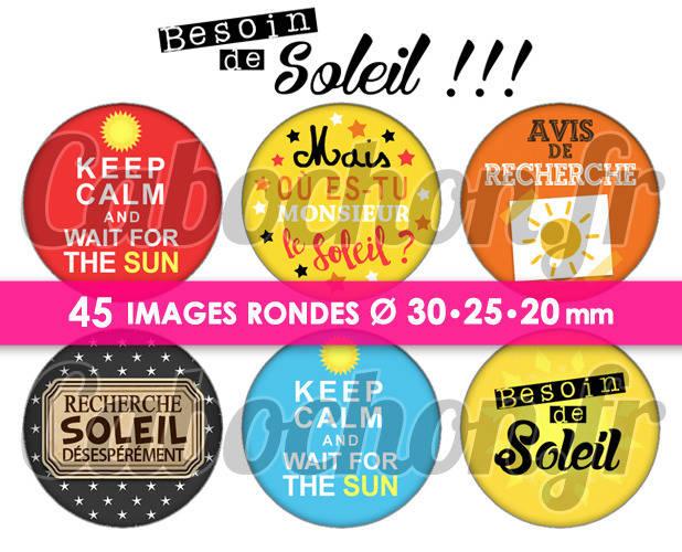 Besoin de Soleil !!! ☆ 45 Images Digitales Numériques RONDES 30 25 et 20 mm Page de collage digital pour cabochons