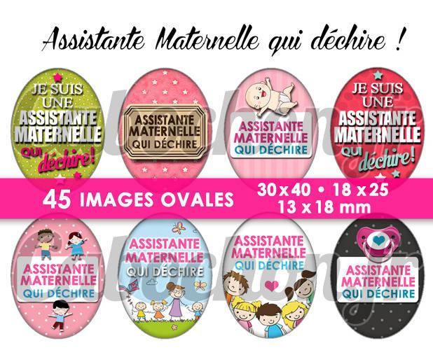 Assistante Maternelle qui déchire ! ☆ 45 Images Digitales Numériques OVALES 30x40 18x25 et 13x18 mm Page digitale pour cabochons