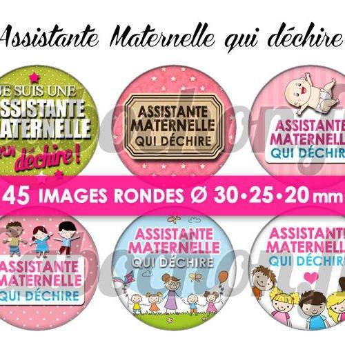 Assistante maternelle qui déchire ! ☆ 45 images digitales numériques rondes 30 25 et 20 mm page de collage digital pour cabochons