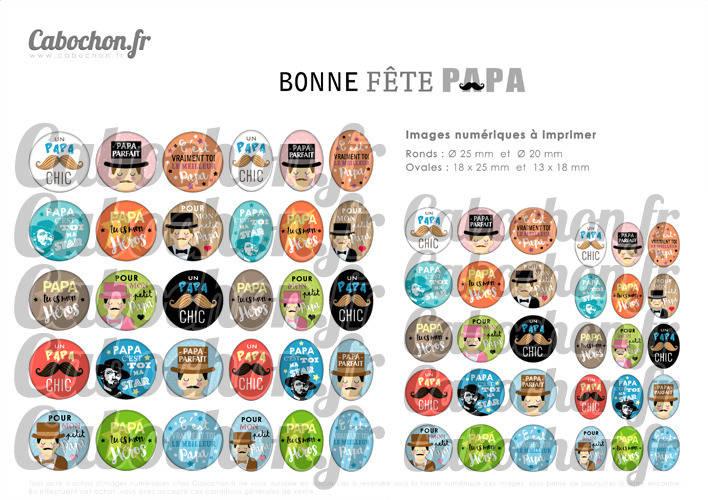 Bonne Fête Papa lV ☆ 60 Images Digitales / Numériques RONDES 25 et 20 mm et OVALES 18x25 et 13x18 mm Page d'images pour cabochons à imprimer