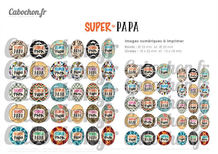 Super Papa ll ☆ 60 Images Digitales / Numériques RONDES 25 et 20 mm et OVALES 18x25 et 13x18 mm Page d'images pour cabochons à imprimer