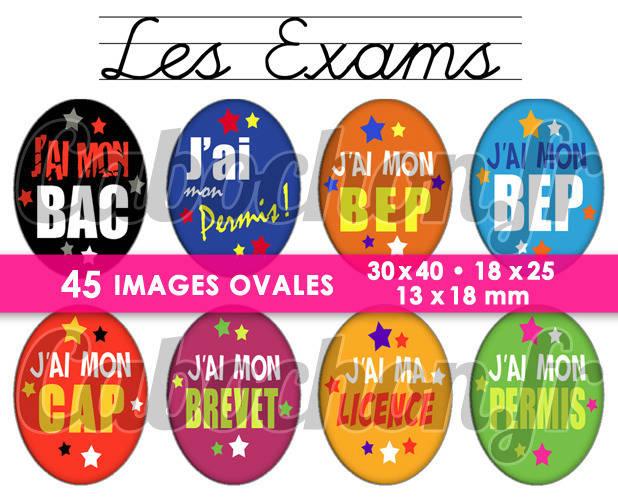 Les Exams ☆ 45 Images Digitales Numériques OVALES 30x40 18x25 et 13x18 mm Page digitale pour cabochons
