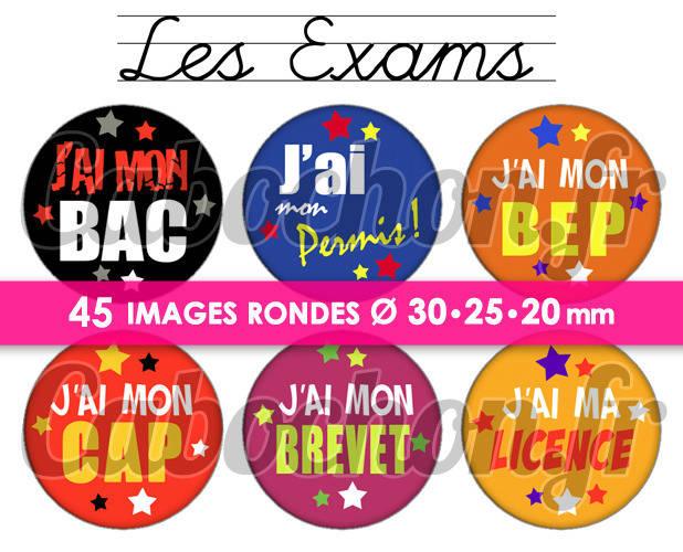 Les Exams ☆ 45 Images Digitales Numériques RONDES 30 25 et 20 mm Page de collage digital pour cabochons