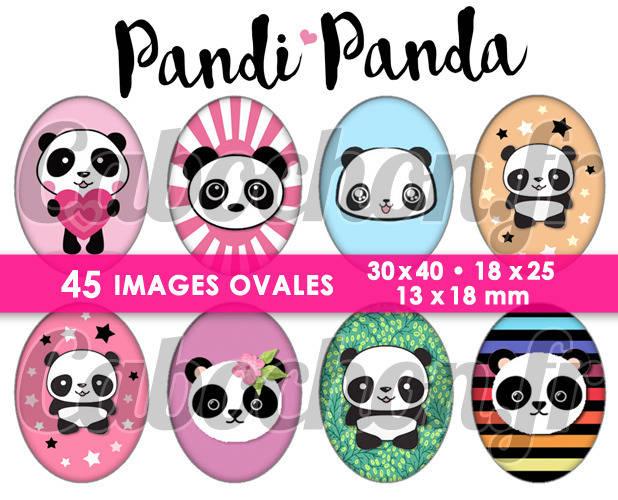 Pandi Panda ☆ 45 Images Digitales Numériques OVALES 30x40 18x25 et 13x18 mm Page digitale pour cabochons