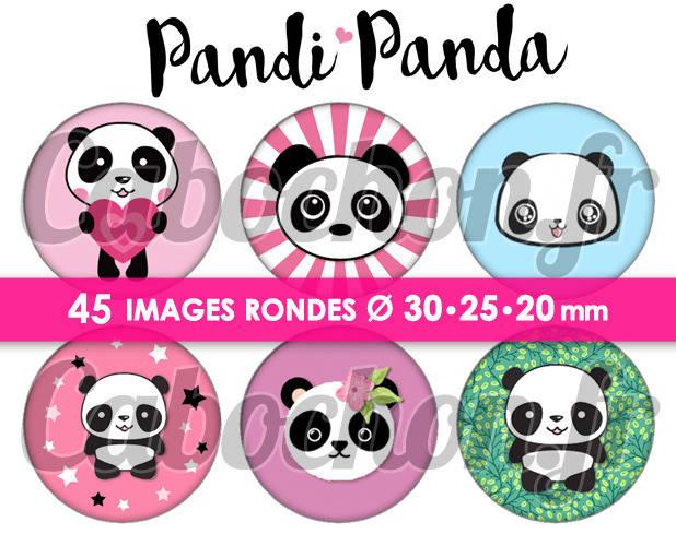 Pandi Panda ☆ 45 Images Digitales Numériques RONDES 30 25 et 20 mm Page de collage digital pour cabochons