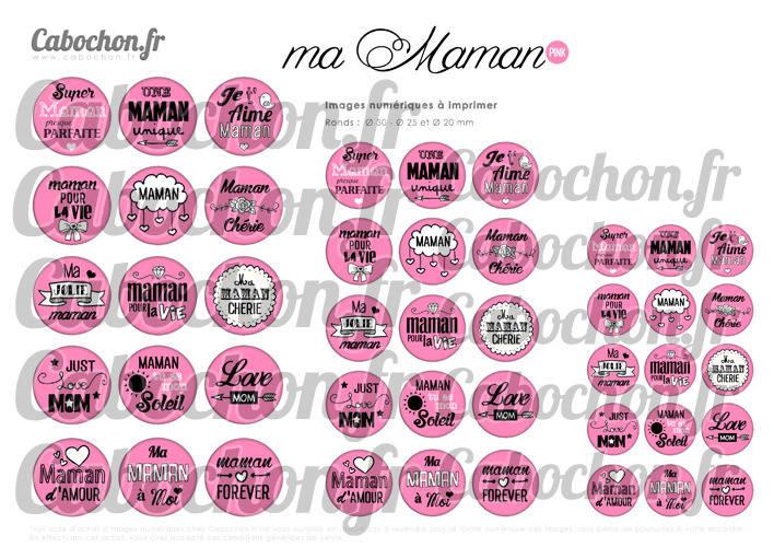 Ma Maman • PINK ☆ 45 Images Digitales Numériques RONDES 30 25 et 20 mm Page de collage digital pour cabochons