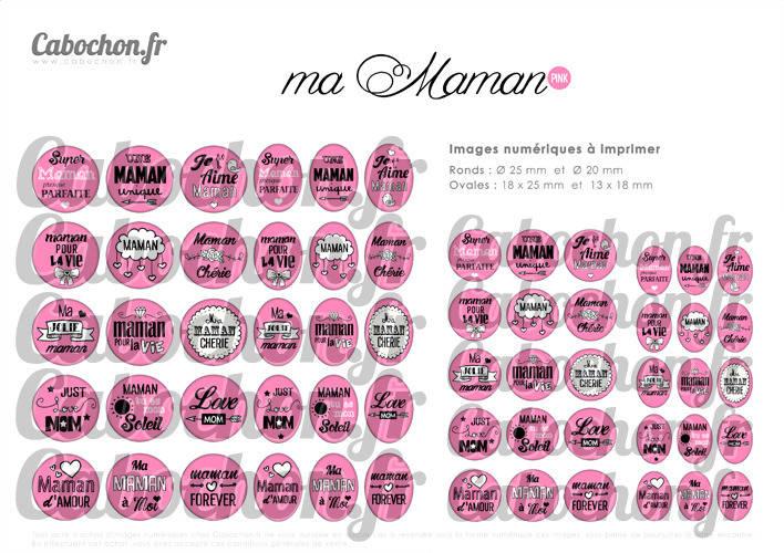 Ma Maman • PINK ☆ 60 Images Digitales Numériques RONDES 25 et 20 mm et OVALES 18x25 et 13x18 mm Page d'images pour cabochons