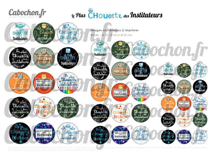 Le Plus Chouette des Instituteurs ☆ 45 Images Digitales Numériques RONDES 30 25 et 20 mm Page de collage digital pour cabochons