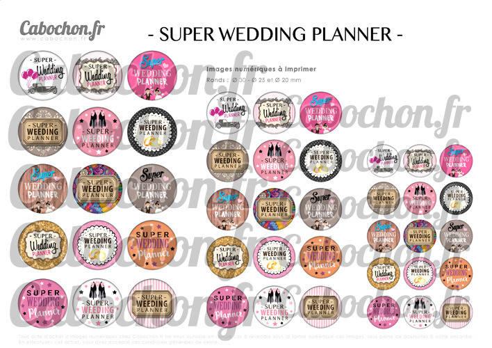 Super Wedding Planner ☆ 45 Images Digitales Numériques RONDES 30 25 et 20 mm Page de collage digital pour cabochons