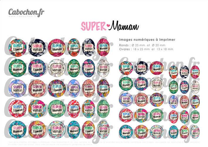 Super Maman lll ☆ 60 Images Digitales Numériques RONDES 25 et 20 mm et OVALES 18x25 et 13x18 mm Page d'images pour cabochons