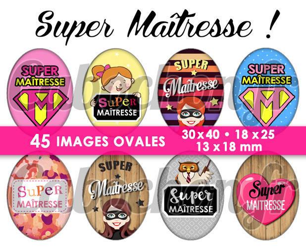 Super Maîtresse V ☆ 45 Images Digitales Numériques OVALES 30x40 18x25 et 13x18 mm Page digitale pour cabochons