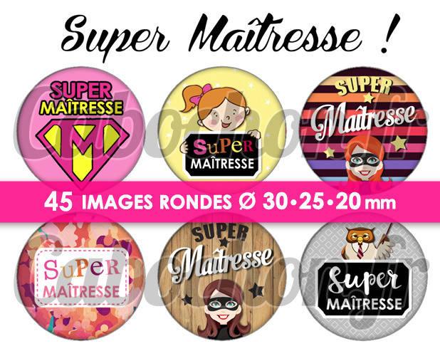 Super Maîtresse V ☆ 45 Images Digitales Numériques RONDES 30 25 et 20 mm Page de collage digital pour cabochons