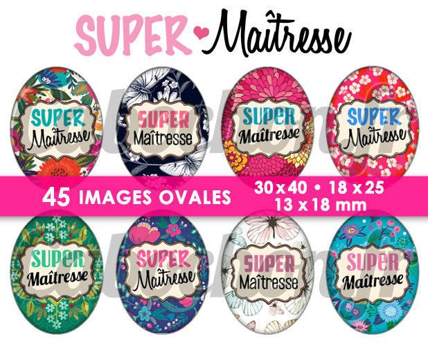 Super Maîtresse lV ☆ 45 Images Digitales Numériques OVALES 30x40 18x25 et 13x18 mm Page digitale pour cabochons