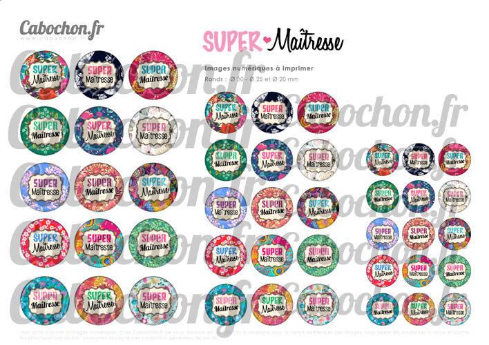 Super Maîtresse lV ☆ 45 Images Digitales Numériques RONDES 30 25 et 20 mm Page de collage digital pour cabochons