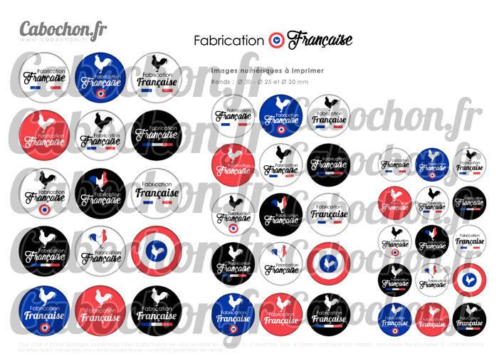 Fabrication Française ☆ 45 Images Digitales Numériques RONDES 30 25 et 20 mm Page de collage digital pour cabochons