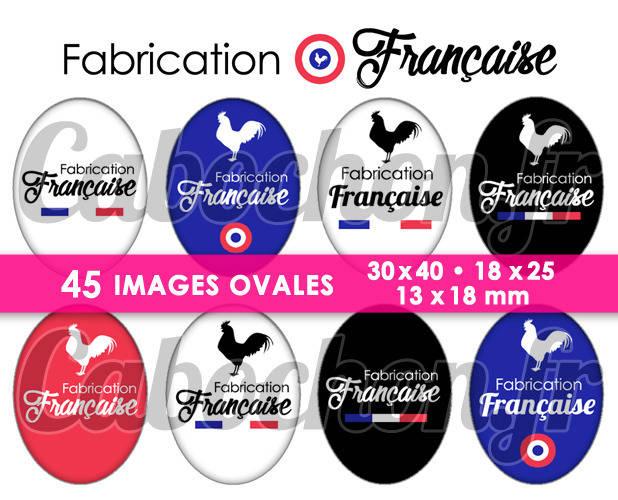 Fabrication Française ☆ 45 Images Digitales Numériques OVALES 30x40 18x25 et 13x18 mm Page digitale pour cabochons