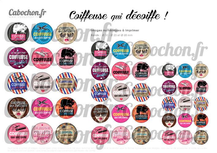 Coiffeuse qui décoiffe ! ☆ 45 Images Digitales Numériques RONDES 30 25 et 20 mm Page de collage digital pour cabochons