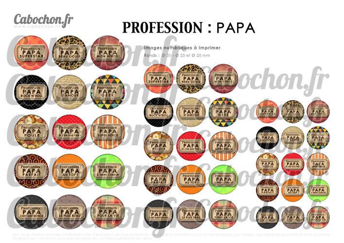 Profession : PAPA ☆ 45 Images Digitales Numériques RONDES 30 25 et 20 mm Page de collage digital pour cabochons