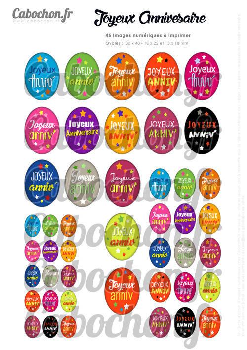 Joyeux Anniversaire ☆ 45 Images Digitales Numériques OVALES 30x40 18x25 et 13x18 mm Page digitale pour cabochons